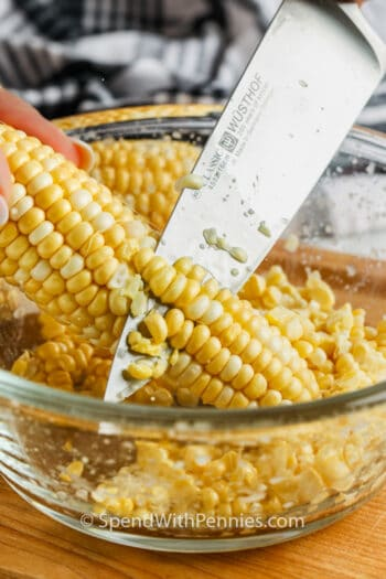 corn on the cob and knife to show How to Cut Corn Off the Cob