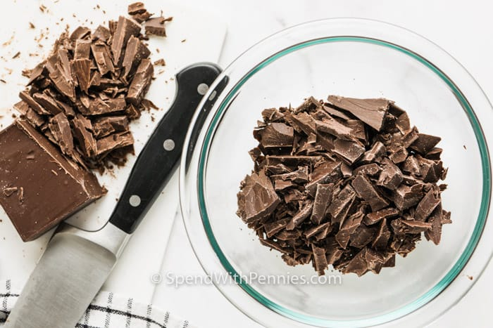 shredded chocolate in a bowl to show How to Melt and Temper Chocolate