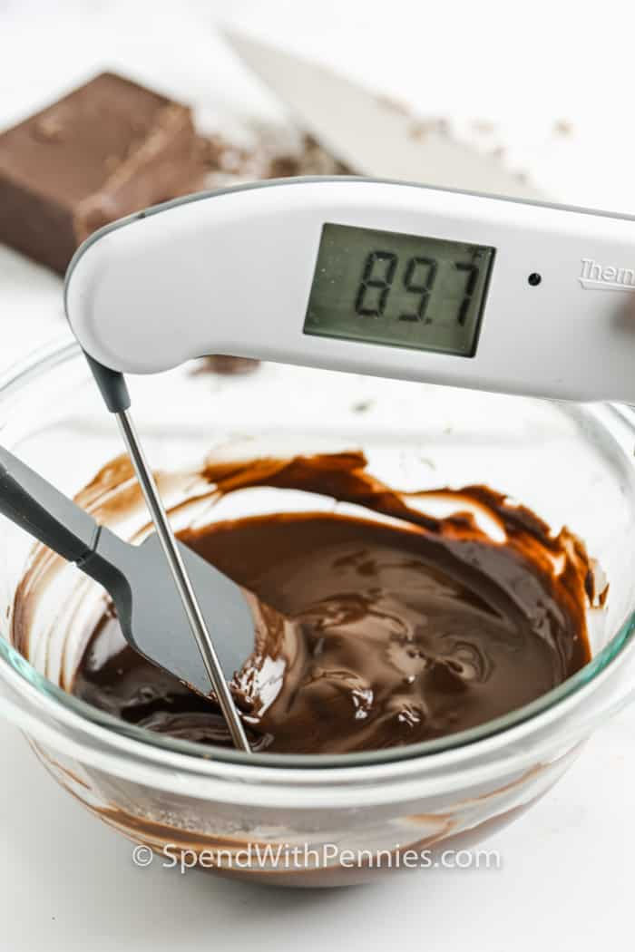taking the temperature of chocolate with a thermometer to show How to Melt and Temper Chocolate