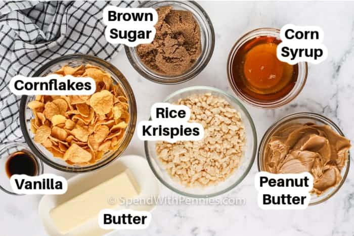 Ingredients for No Bake Peanut Butter Bars