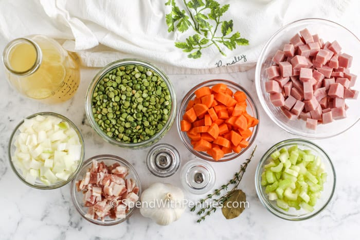 ingredients to make Instant Pot Split Pea Soup