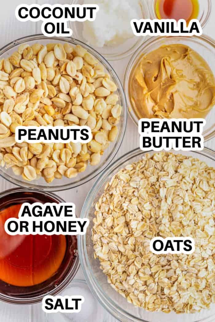 ingredients for making peanut butter granola