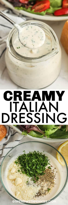 kom met ingrediënten om romige Italiaanse dressing te maken met afgewerkte dressing in een pot en een titel