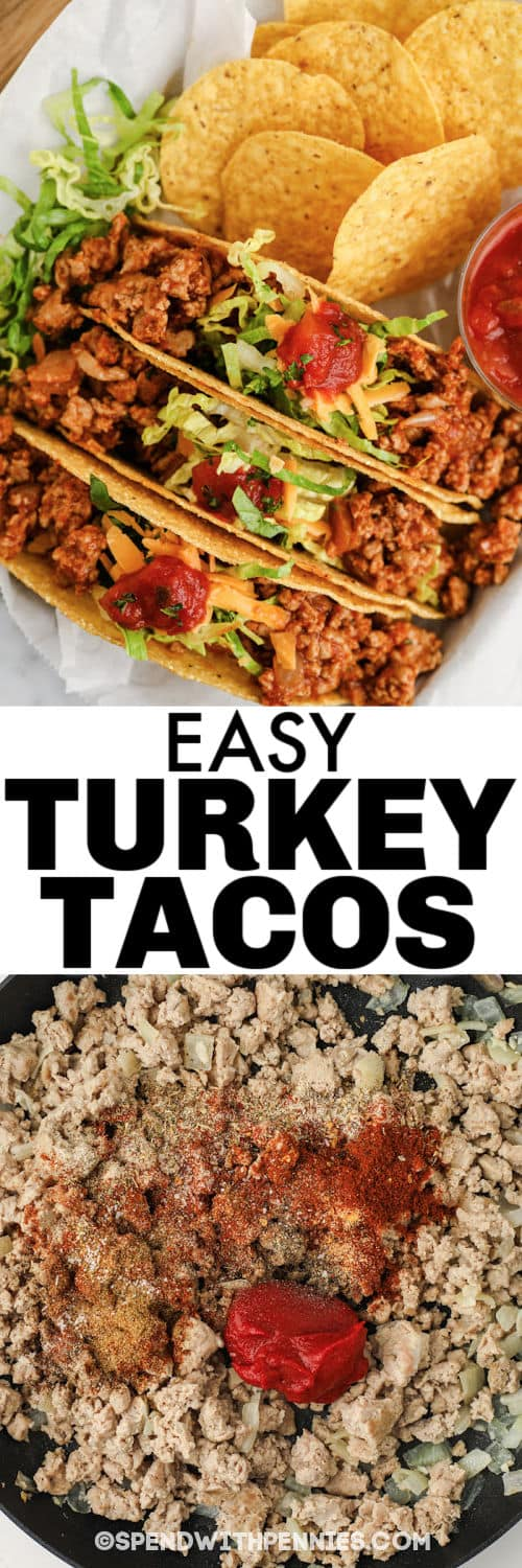 cooking turkey and Easy Turkey Tacos plated with a title