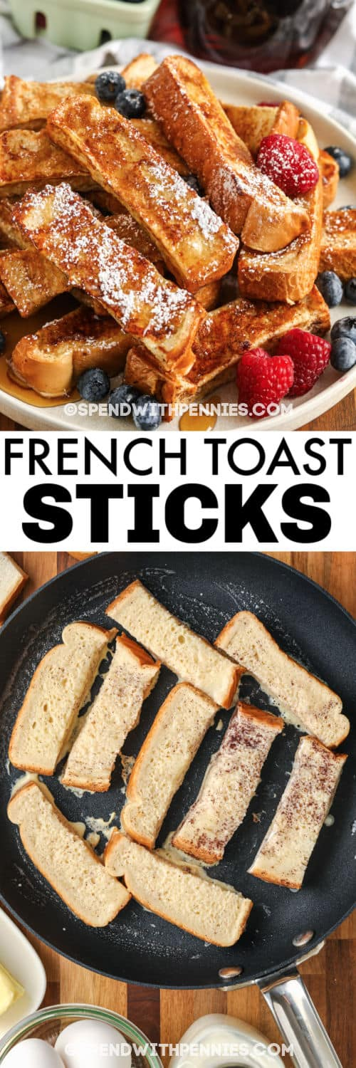 cooking French Toast Sticks with plated dish and a title