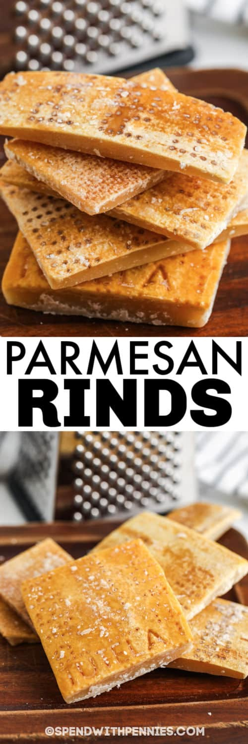Parmesan Rinds on a cutting board with a title