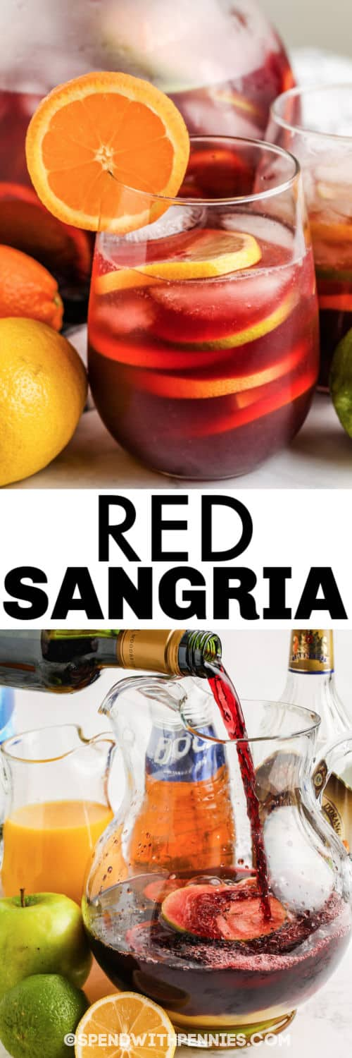 mixing Red Sangria with a glass full and a title