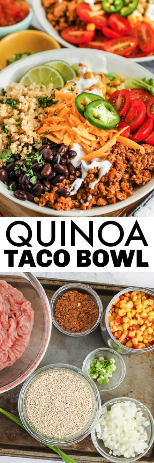 ingredients to make Taco Quinoa Bowl with finish dish and a title