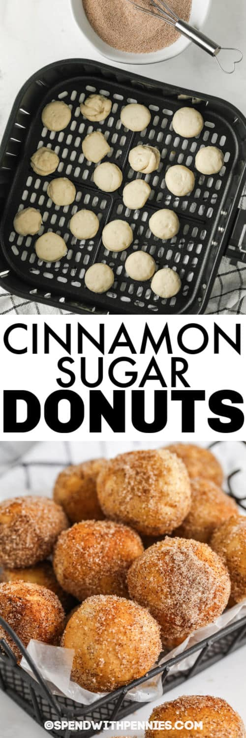 Three Ingredient Donut Hole Recipe in the air fryer and plated with writing