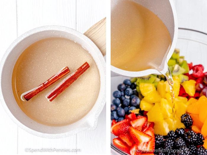 making fresh fruit salad