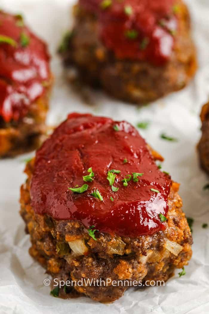 close up of Mini Meatloaf