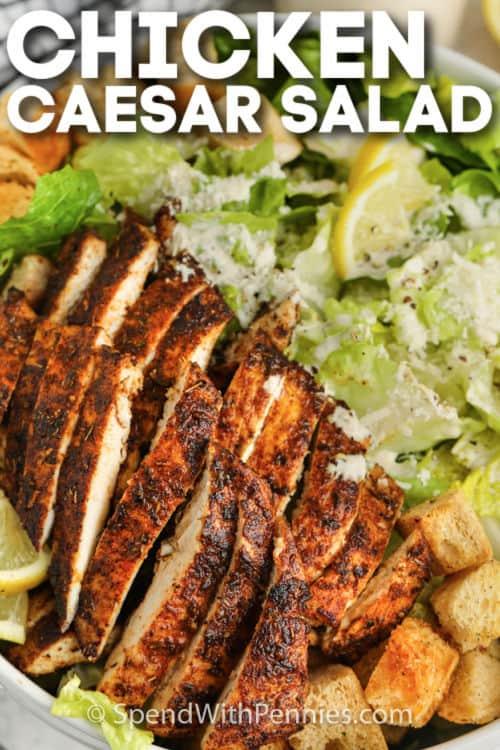 Chicken Caesar Salad with writing
