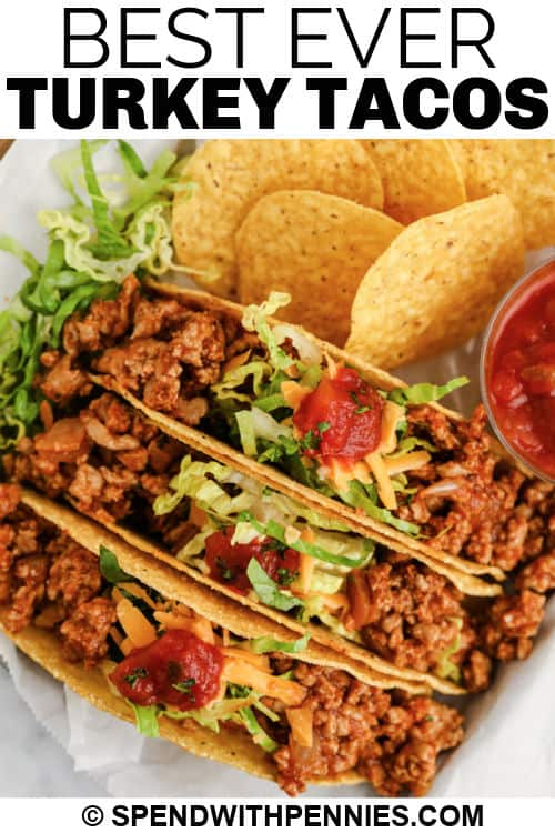 Easy Turkey Tacos with a title