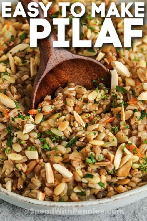 close up of Farro Pilaf with a title