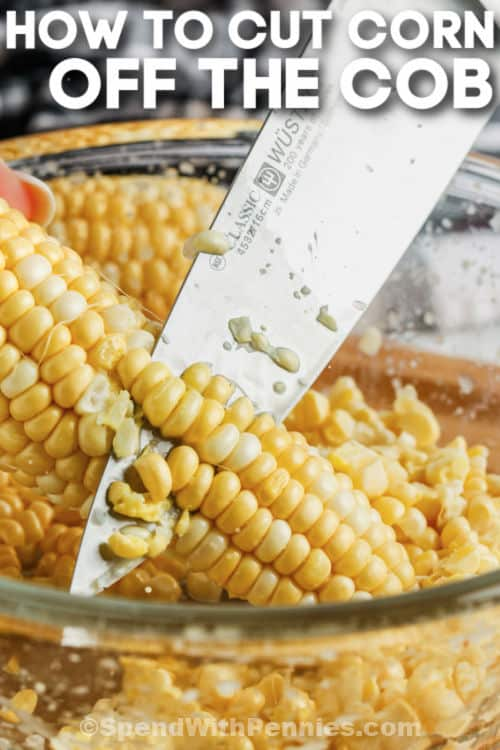 close up of How to Cut Corn Off the Cob with a title