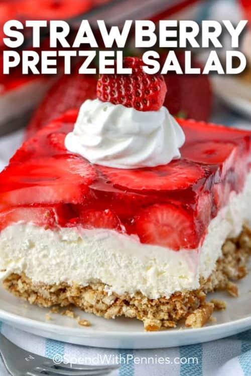 Strawberry Pretzel Salad with writing