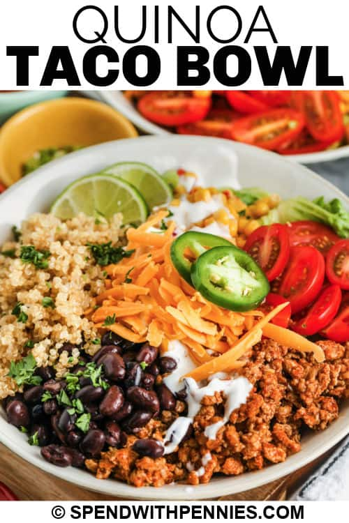 plated Taco Quinoa Bowl with a title