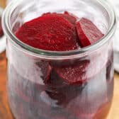 close up of Quick Pickled Beets in a jar