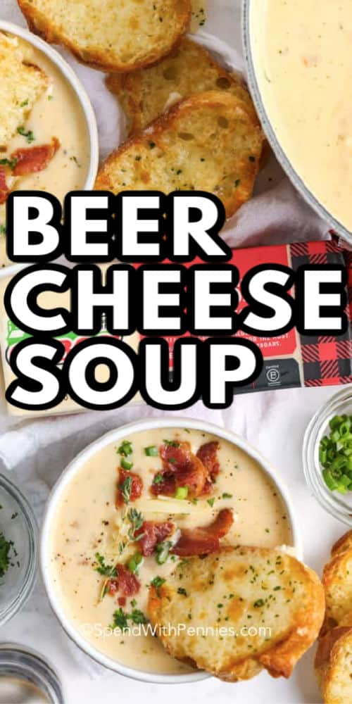 Beer cheese soup with writing