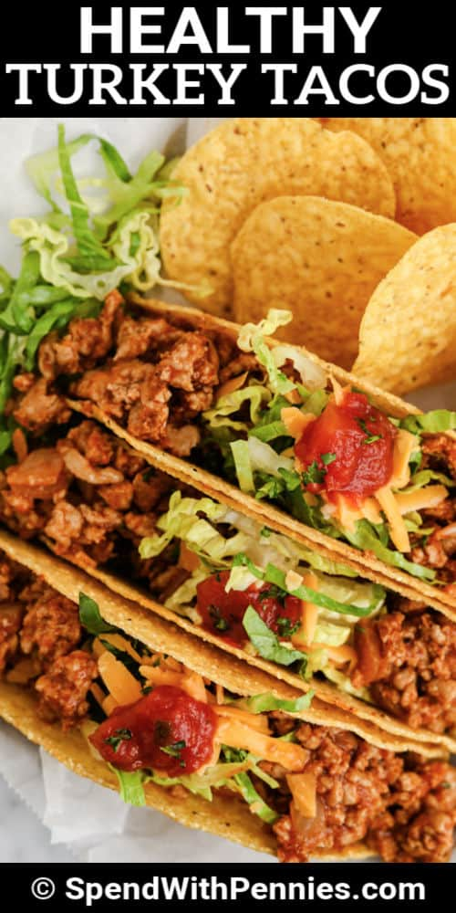 plated Easy Turkey Tacos with writing