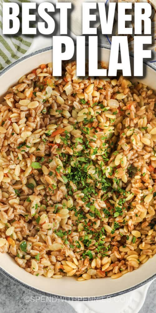 cooked Farro Pilaf in the pot with writing