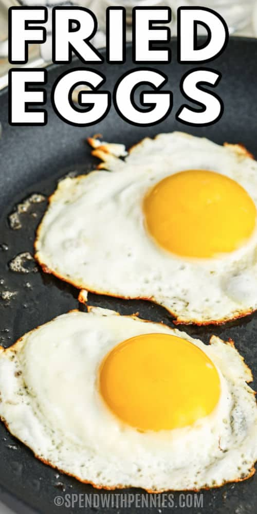 Fried Eggs on a pan with writing
