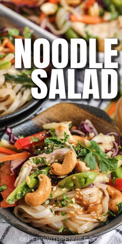 Sesame Ginger Noodle Salad in bowls with a title