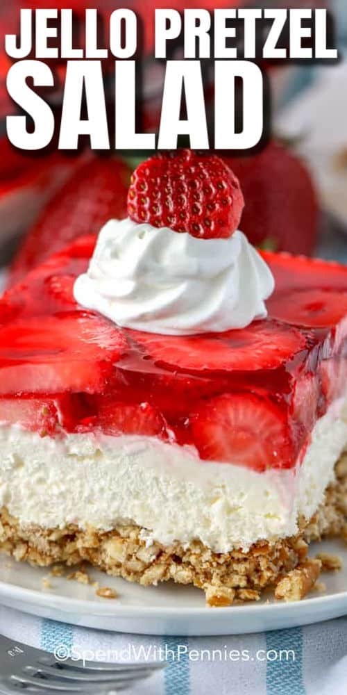 Strawberry Pretzel Salad on a plate with writing