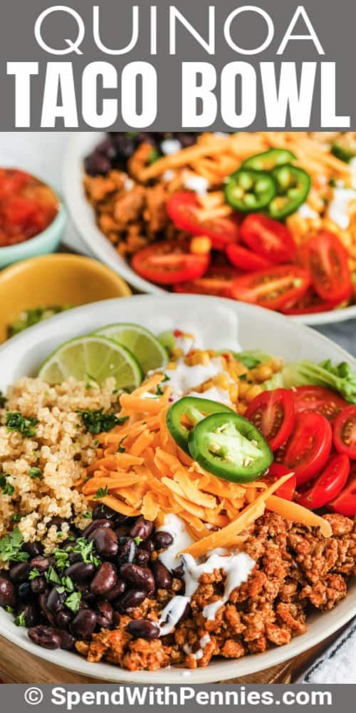 plated Taco Quinoa Bowl with writing