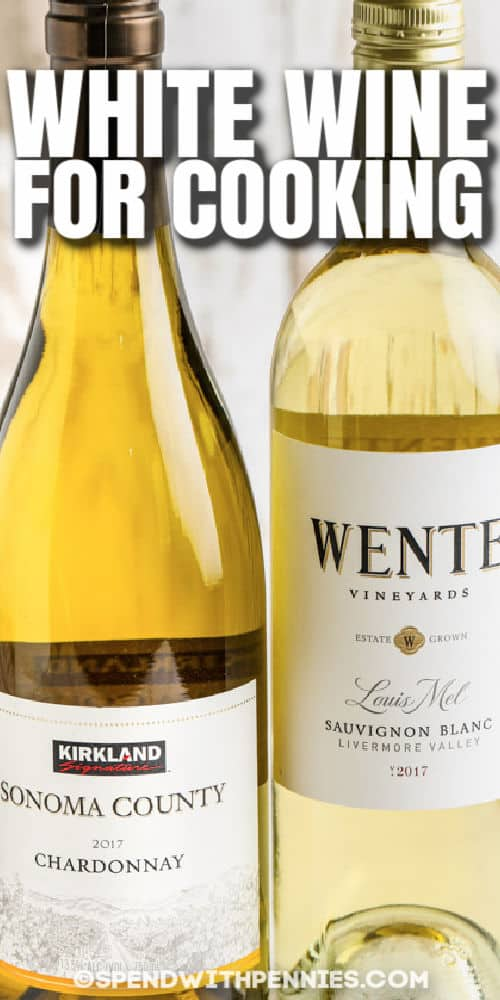 close up of White Wine for Cooking with a title