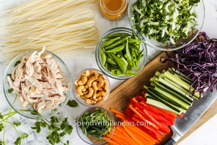 ingredients to make Sesame Ginger Noodle Salad