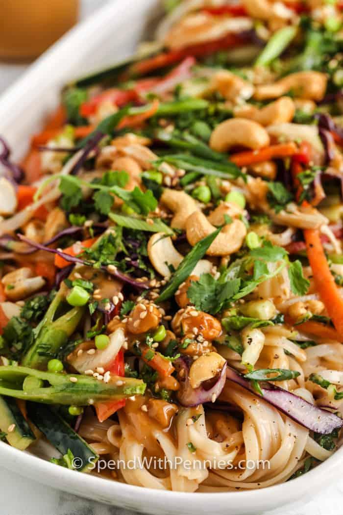 close up of finished Sesame Ginger Noodle Salad