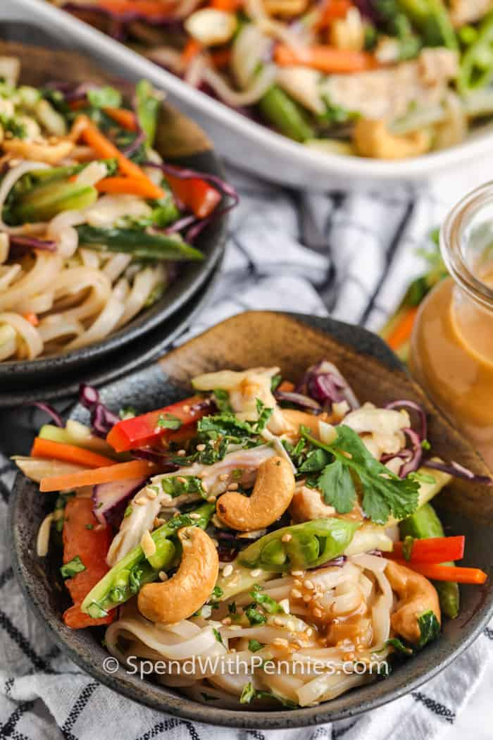 Sesame Ginger Noodle Salad in bowls with dish full in the back