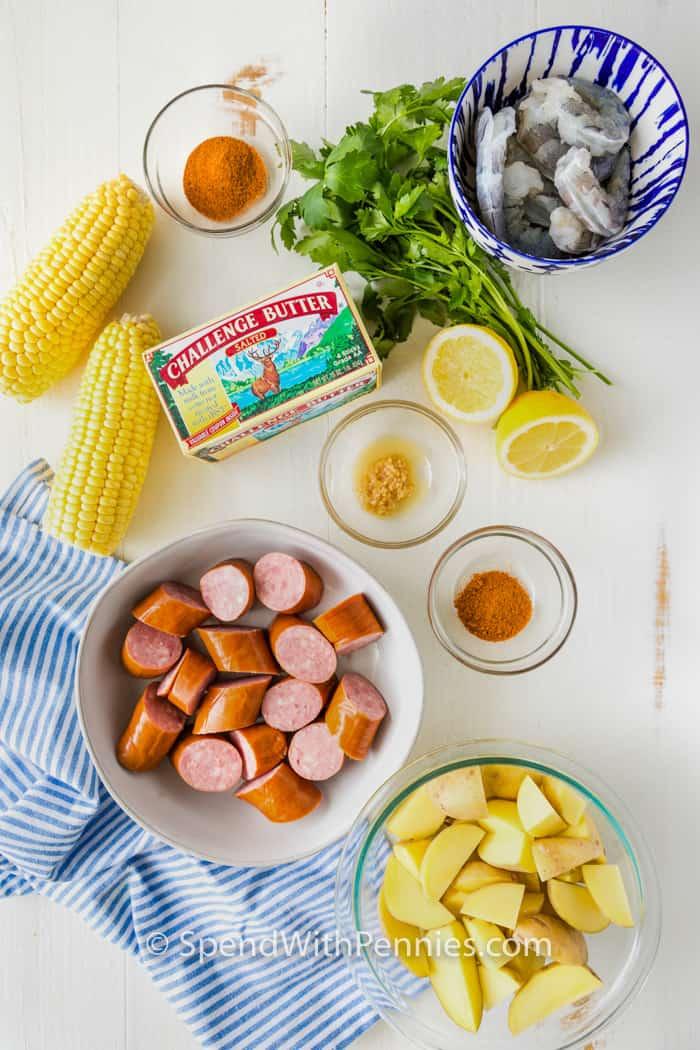 ingredients to make Shrimp Boil Foil Packets