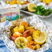 Shrimp packets in foil