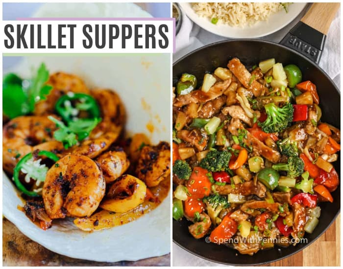 shrimp fajitas and a stir fry in a pan