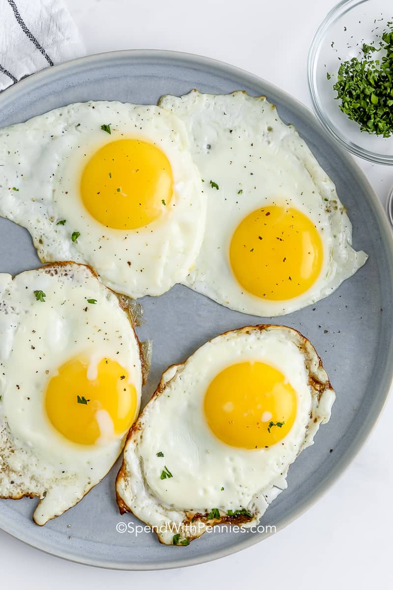 fried eggs on a plate