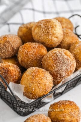 plated Three Ingredient Donut Hole Recipe
