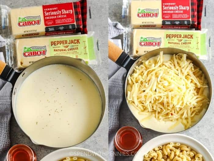 process of making cheese sauce for Buffalo Chicken Mac and Cheese