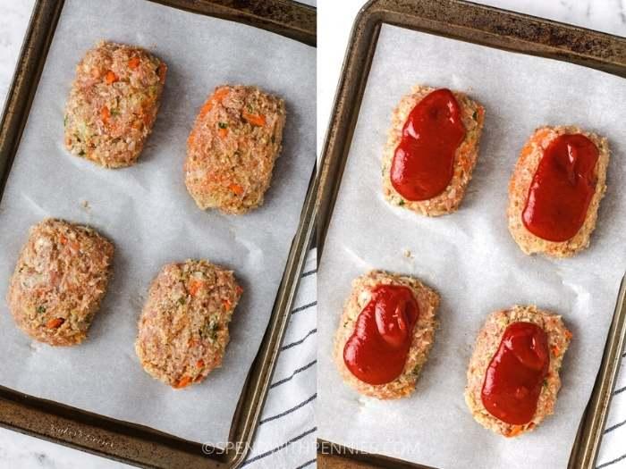 process of adding ingredients to baking sheet