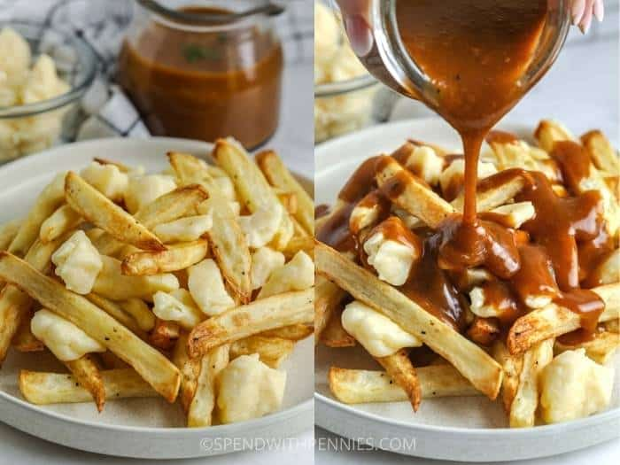process of pouring gravy over fries to make a Poutine