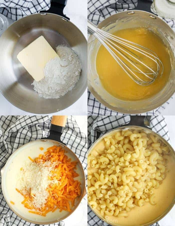 process of adding ingredients to pot to make 15 Minute Mac and Cheese
