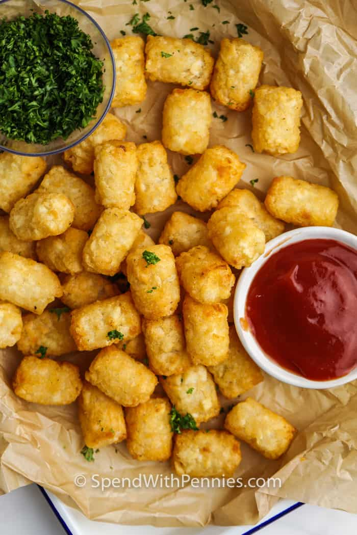 plated Air Fryer Frozen Tater Tots with ketchup