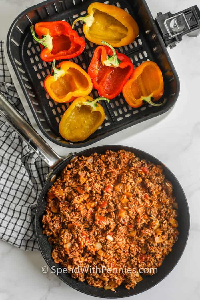 paprika en vleesvulling om Air Fryer Gevulde Paprika's te maken