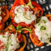 close up of cooked Air Fryer Stuffed Peppers