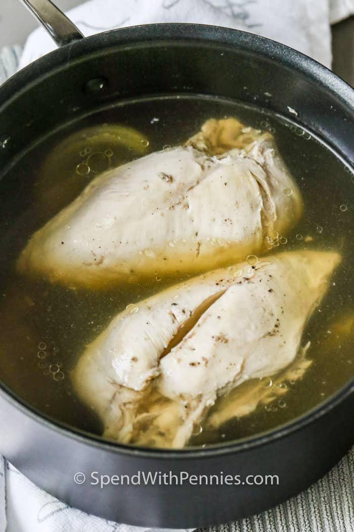 Boiled Chicken Breast cooking in the pot