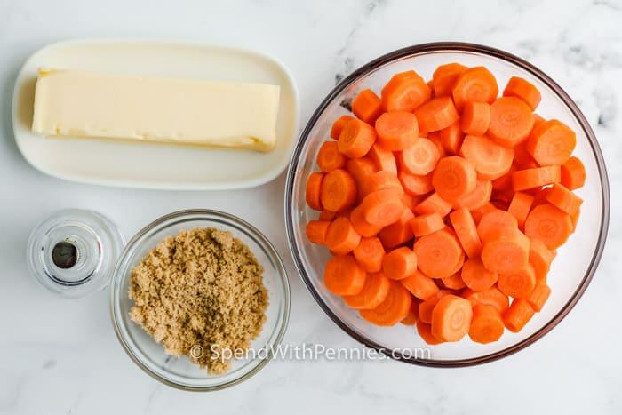ingredients to make Brown Sugar Carrots