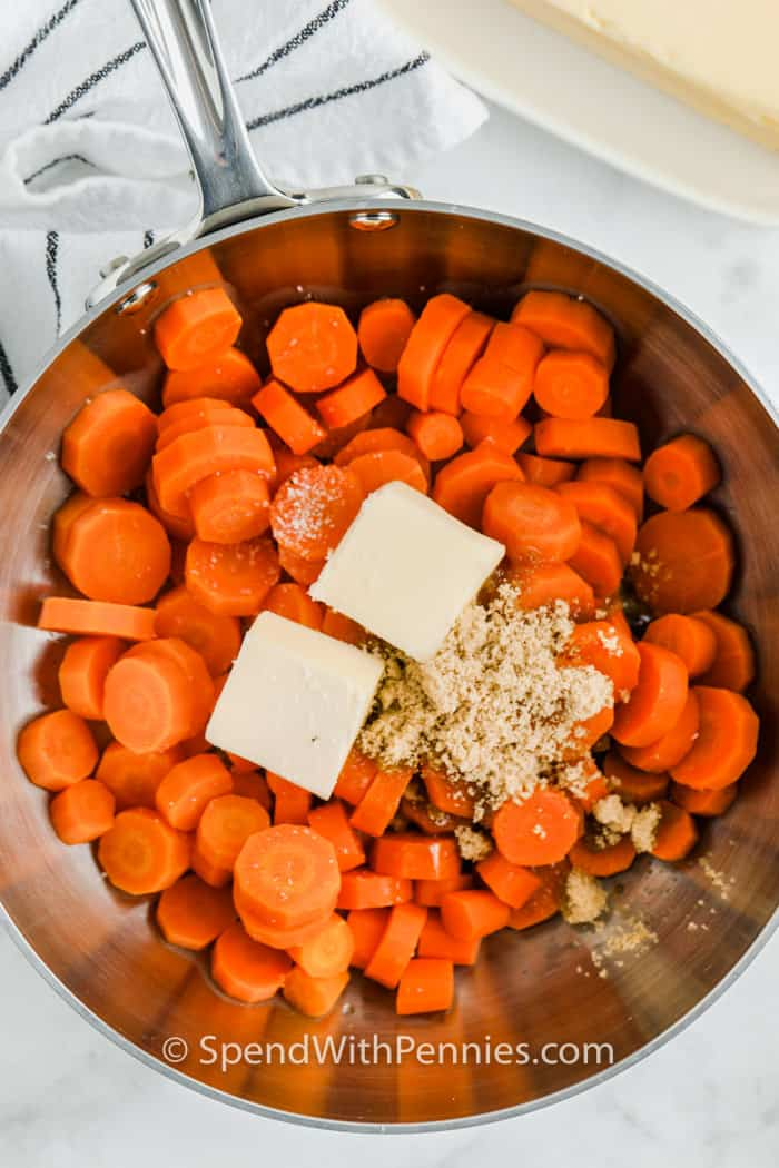 ingredinets in a pot to make Brown Sugar Carrots