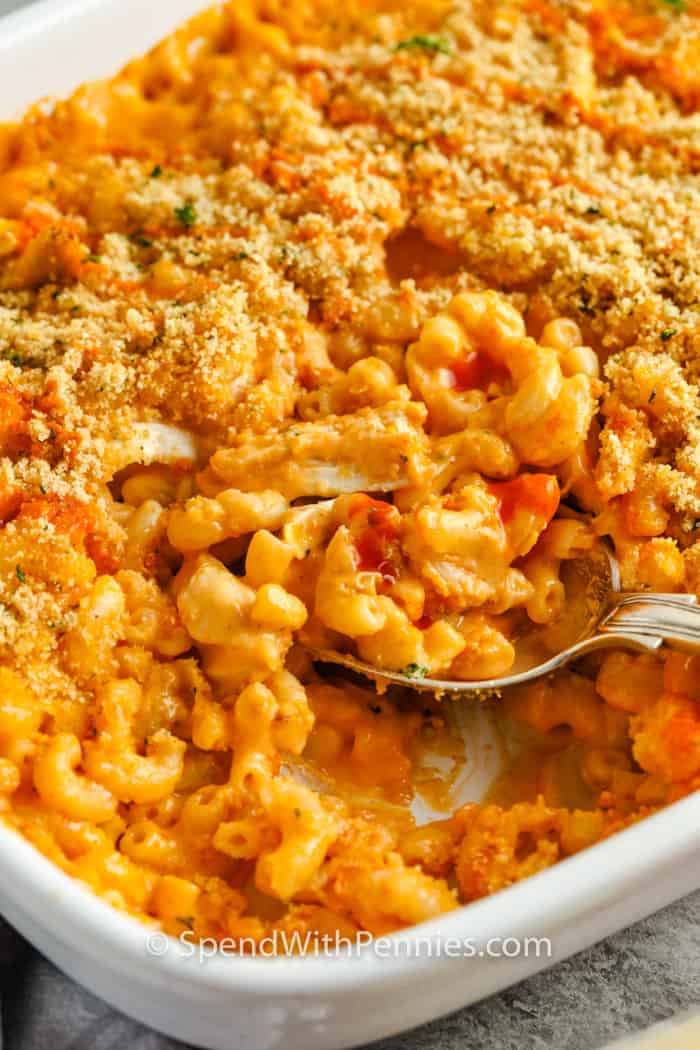 cooked Buffalo Chicken Mac and Cheese with a spoon in it