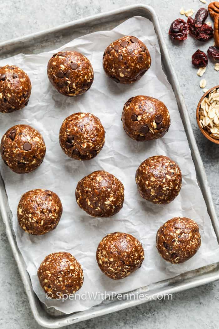 Chocolate Energy Balls on a baking sheet
